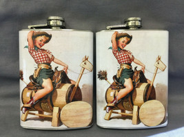 Set of 2 Pin Up Girl D 86 Flasks 8oz Stainless Steel Drinking Whiskey - $12.63