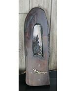 Vintage Hand Carved Wood Clock John Reseter Tree Forest Rustic Primitive - $39.59