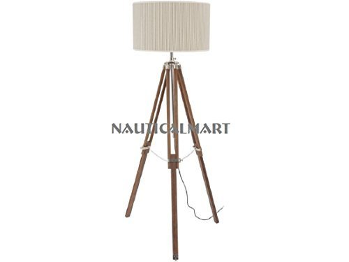 Designer Floor Lamps Living Room - Natural Wood Tripod Floor Lamp - By Nauticalm - $137.61