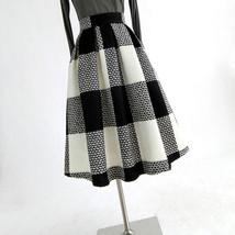 BLACK PLAID Midi Skirt Women Classy Winter Long Plaid Skirt Outfit Plus Size  image 7