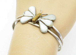 MEXICO 925 Silver - Vintage Mother Of Pearl Butterfly Cuff Bracelet - B5964 - $74.80