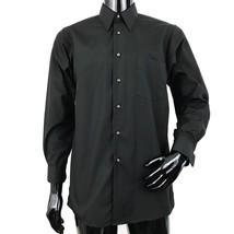 Van Heusen Wrinkle Free Mens Medium Solid Black Poplin Long Sleeve Shirt... - $52.26