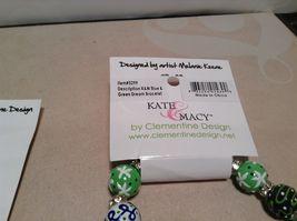 NEW Kate & Macy Green Hand Painted Glass Bracelet/Earring Set image 4