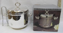 Royal Limited Ice Bucket Silver Plated Tongs Liner Handles Original Box  - $24.74