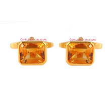 Natural Citrine Gemstone with 925 Sterling silver cufflinks for men's  - $75.00
