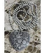 Flower Nature Heart Necklace Ball Beaded Antique Adjustable Chain Casual... - $8.90
