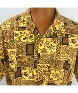 Lee Hawaiian Aloha XL Yellow Brown Tapas Hibiscus Fower Geometric Leaves... - $39.59