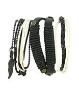 ShalinIndia Black and White Leather Bracelet - Handmade - Layered Stacke... - $13.60