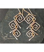 Handmade copper earrings: three wire wrapped square spirals - $33.00