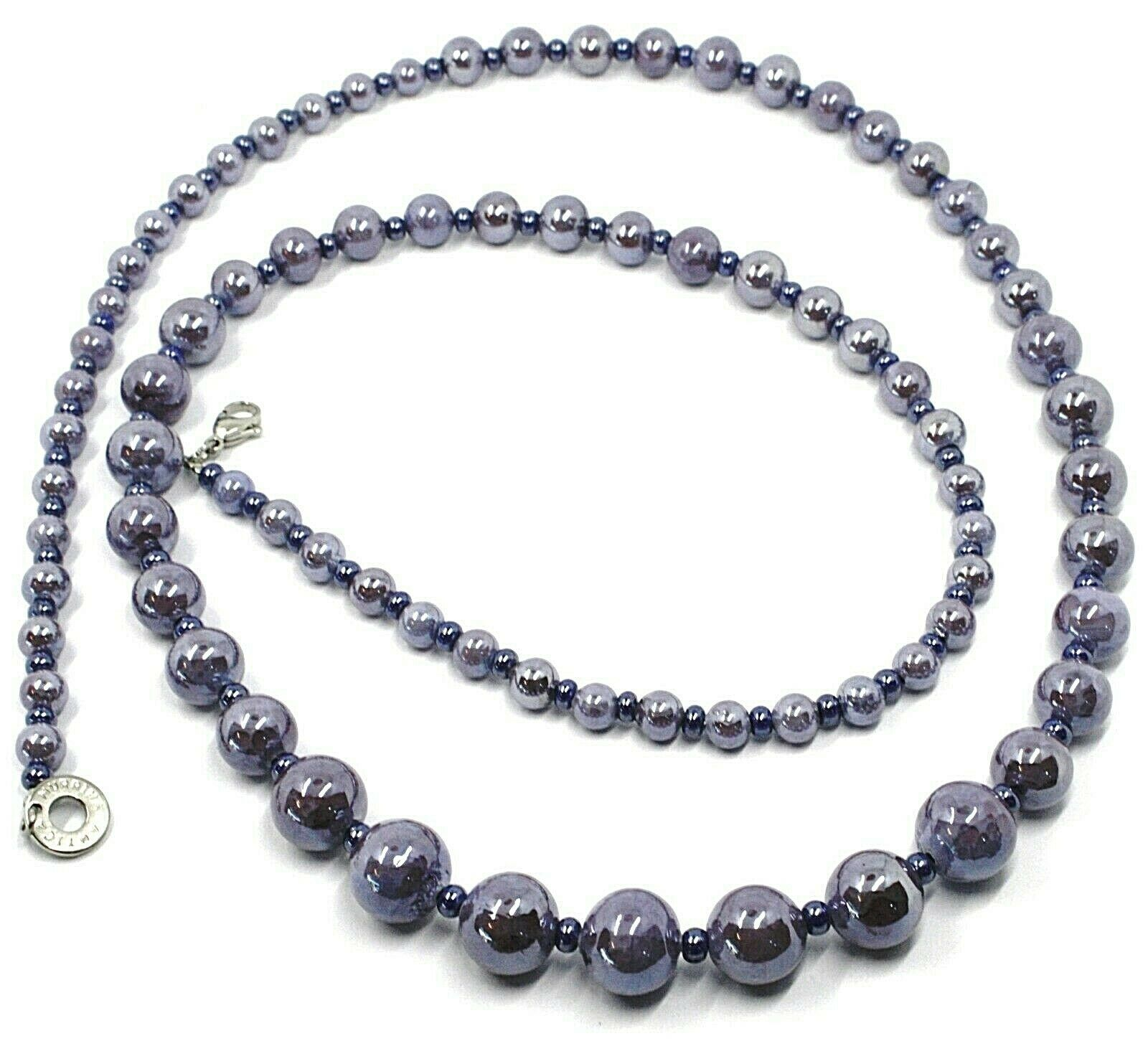Necklace Antica Murrina Venezia,COA25A58,Spheres Purple,Length 90 CM
