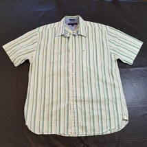TOMMY HILFIGER Mens Large Button Shirt Short Sleeve 80s 2 Ply Fabric Str... - £16.28 GBP