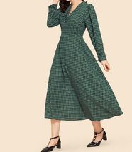 Green V Neck Lace Up Detail Grid Print Longline A Line Flared Shift Dress image 3