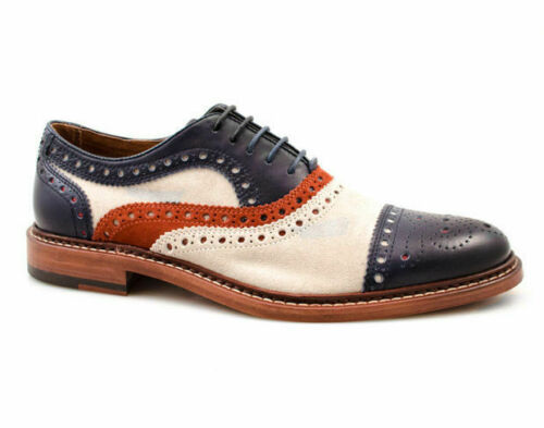 Handmade Men's Multi Color Brogues Dress/Formal Leather and Suede Oxford Shoes