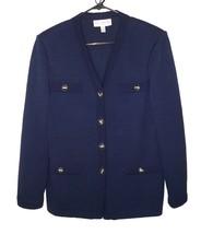 St. John Collection 10 Blazer Jacket Santana Knit Navy Logo Buttons Stra... - $89.99