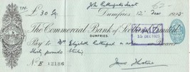 The Commercial Bank of Scotland Logo Dumfries 1925 Paid Stamp Cheque Ref... - $7.55