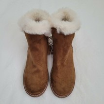 AMERICAN EAGLE womens casual winter Faux Fur boots Ankle Zip Bootie Brown size 8 - $29.69