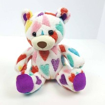 "Animal Adventure 2012 Plush Teddy Bear Hearts Stuffed Animal Rainbow 9""  - $16.83"