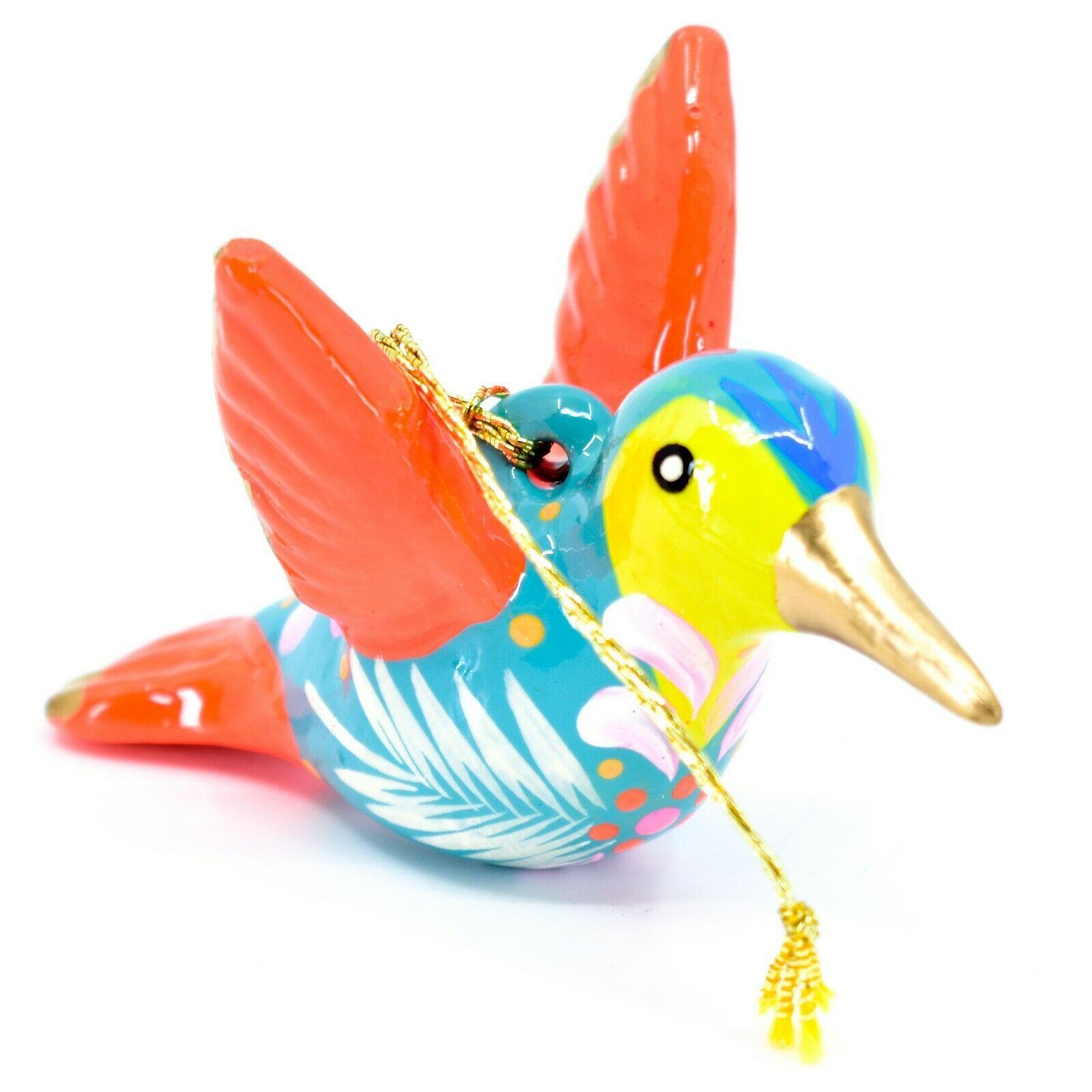 Handcrafted Painted Ceramic Blue Hummingbird Confetti Ornament Made in Peru
