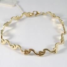 Bracelet en or Jaune 750 18K avec Vagues et Feuilles,Semi Rigide,21 cm Longueur image 1
