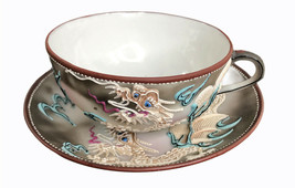 Moriage Hand Painted  Tea Cup & Saucer TAKITO Double TT Raised Dragonware  - $15.47