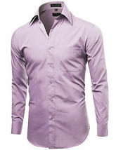 Omega Italy Men's Long Sleeve Solid Lilac Button Up Dress Shirt - S image 4