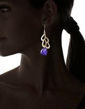 Blossom Box Gold Plated Druzy Purple Agate Dangle Drop Earrings image 2