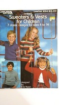 Leisure Arts 1982 Knitting Pattern Leaflet #234 Sweaters & Vests For Children - $2.96