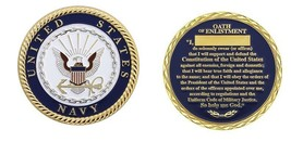"NAVY OATH OF ENLISTMENT MILITARY 1.75""  CHALLENGE COIN - $16.24"