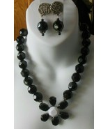 Vintage Massive Heavy Black / Multi-Faceted Glass Necklace & Earrings - $84.15