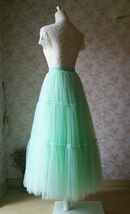 Women Tiered Long Tulle Skirt Mint Green Long Layered Tulle Skirt image 4