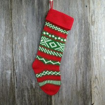 Vintage Christmas Stocking Knitted Knit Zig Zags Large Red Green White - $34.99