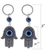 2x Fatima Hamsa Hand Blue Evil Eye Amulet Keychain Nazar Luck Bead Key R... - $6.99
