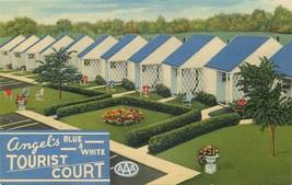 Linen OH Postcard Da789 Angels Blue & White Tourist Court Motel Bowling ... - $7.00