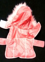 Small Dog Pink Fur Hood Female Winter Jacket Coat Doggie Coat Used - $19.37