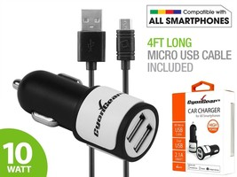 2.1 Amp 10W Dual USB Car Charger w/ Micro USB Cable for Motorola Droid T... - $8.95
