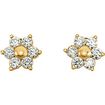 14K Yellow Gold Youth Cubic Zirconia Cluster Earrings - $65.99+