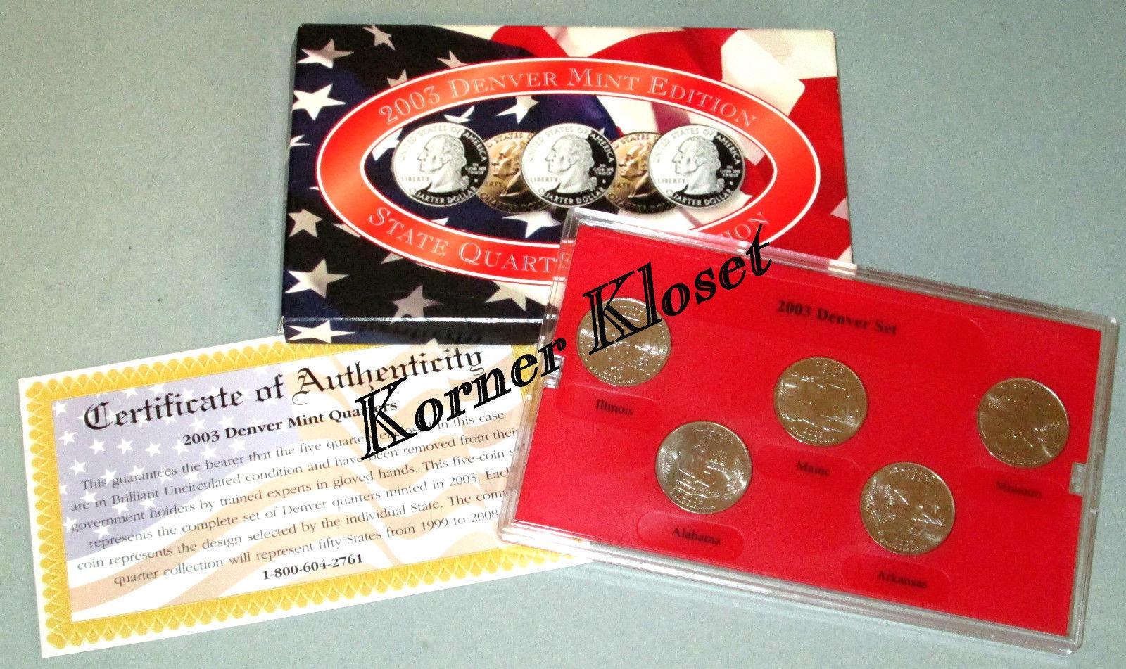 2003 Denver Mint Edition State Quarter Collection - IL, ME, MO, AL, AR - $12.55
