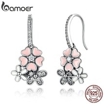 925 Sterling Silver Pink Flower Poetic Daisy Cherry Blossom Drop Earring... - $24.29