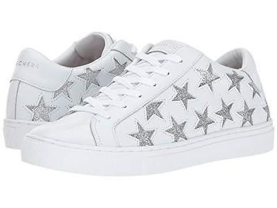 "Skechers Rise Fit Silver Cutout Stars ""STAR SIDE"" White Leather Sneakers Wms NWT"
