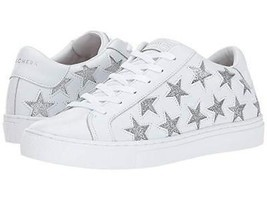 "Skechers Rise Fit Silver Cutout Stars ""STAR SIDE"" White Leather Sneakers Wms NWT - $59.99"