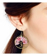 Eternal Tree Of Life Colored Pink Glass Branch Brass Dangle Earrings for... - $35.14