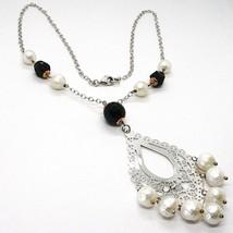 Halskette Silber 925, Onyx Schwarz, Perlen Weiß, Anhänger Floral - $173.85