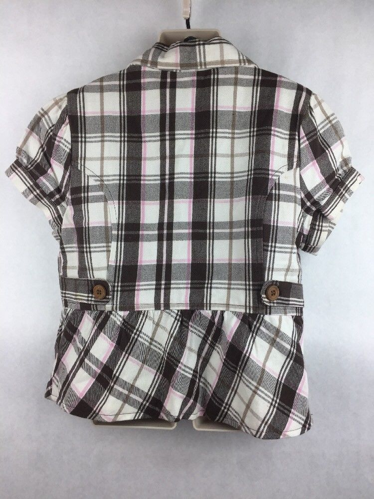Girl's Justice Brown pink White Plaid Short Sleeve 3 Button Blazer Size L 14 image 3