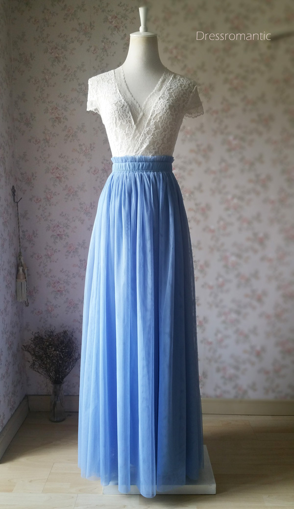 DUSTY BLUE Maxi Tulle Skirt High Waisted Full Length Bridesmaid Skirts NWT