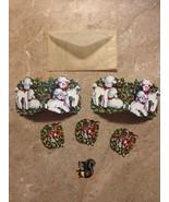 Vintage Christmas Seals Stickers For Decorating 1947 Lamb, Deer, Chipmunk  - $14.99