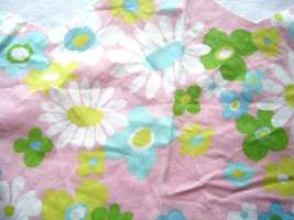 Vintage Pink Floral Fabric Pieces 1970's MCM - $4.99