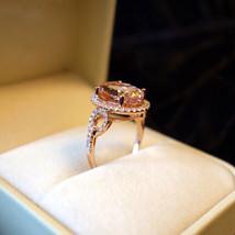 2.50Ct Oval-Cut Morganite Diamond Halo Engagement Ring 10k Yellow Gold F... - $69.99
