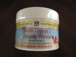 NEW Nordic Naturals Omega 3 Gummy Worms 30 Strawberry Flavored Fish Oil ... - $20.37