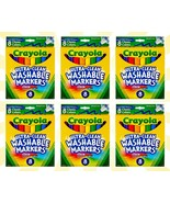 6 Crayola Classic Colors Broad Line Washable Markers 8 Count Each - $23.50
