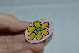Vintage Copper Enamel Modernist Style Flower Pin---From the 1960's - $13.99